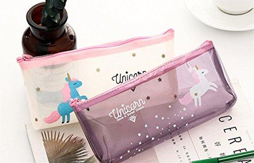 Sevenpring Artículos de papelería Patrón de Unicornio Transparente Estuche de lápices Estuche de lápices Estuche de...