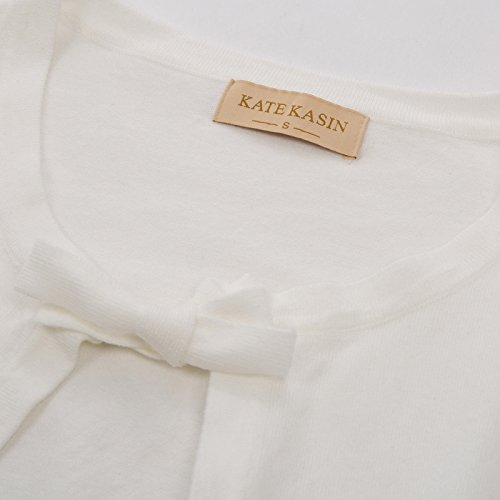 Womens Cardigan Sweaters Knitted Long Sleeve in Ivory,L by Kate Kasin (Image #6)