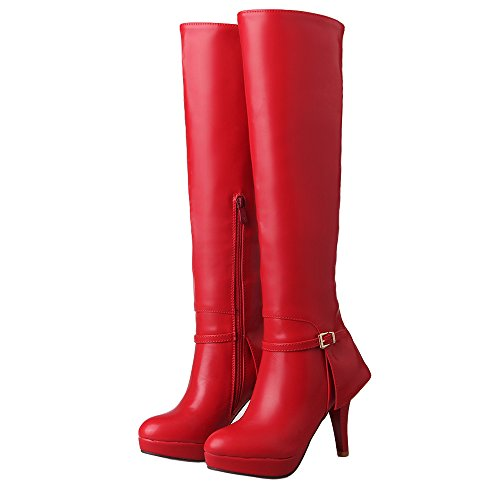 ENMAYER Mujeres Cómoda del Thin Botas de Tacón Rojo