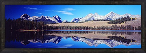 Little Redfish Lake Mountains ID USA by Panoramic Images Framed Art Print Wall Picture, Espresso Brown Frame, 38 x 14 inches (Redfish Framed)