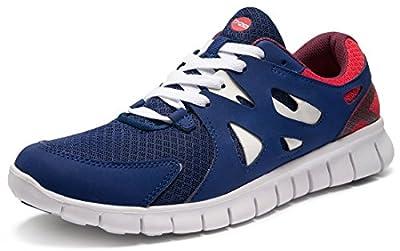 TSLA Men's Lightweight Sports Running Shoes, Flex Mesh(x700) - Blue & Red, 10.5,