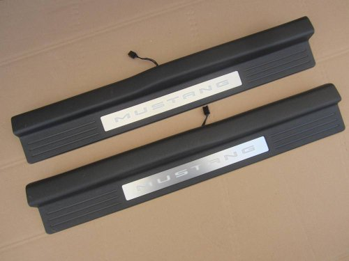 2010 2011 2012 2013 2014 Ford Mustang Door Sill Skid / Scuff Plates Set with Logo & Ambient Lighting Mustang Door Sill Plates
