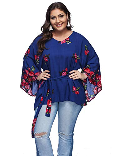 mer Plus Size Sexy Deep V Neck Pleated Half Sleeve Ruched Promenade Tops (Blue B#, XXL) ()