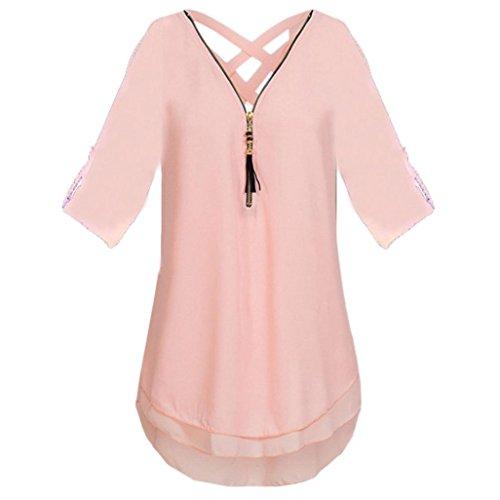 Print Silk Vest (UONQD Woman Blouse Black Design White Blouses for Women Ladies Online Shirt Womens tie Neck Floral Dress Silk high Satin Leopard Print Cream Chiffon Long Sleeve (Large,Pink))