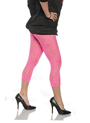 Women's Retro 80's Lace Leggings - Neon Pink, X-Large