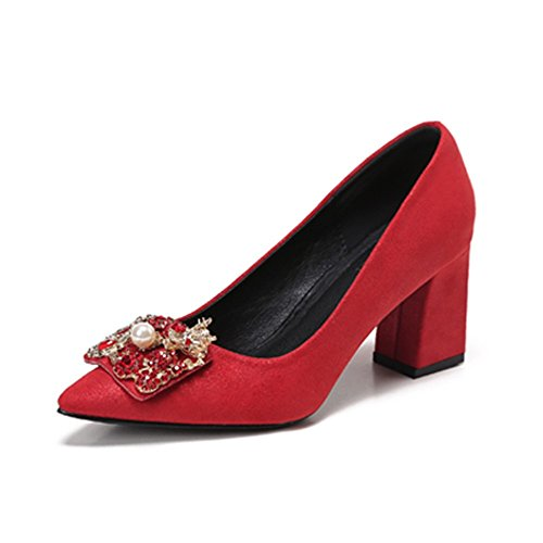 A Shallower Shoes Red Women'S Season Spring And Autumn Drill HXVU56546 Water And Shoes High Heels Shallowly 7FOZx