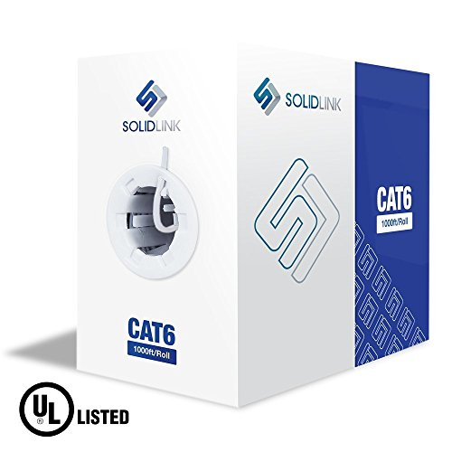 - SolidLink Bare Copper 1000 Feet CAT6 Inwall (cm Rated) UL Listed 23AWG Network Ethernet Cable 550Mhz Wire (White)