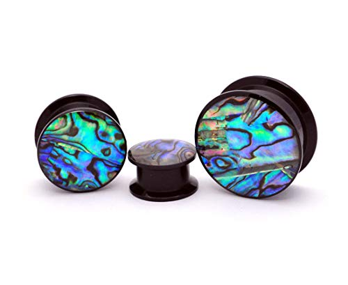 Mystic Metals Body Jewelry Pair of Black Acrylic Embedded Abalone Plugs (4g (5mm)) ()