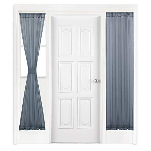 KEQIAOSUOCAI Sidelight Sheer French Door Panel Curtain 72 inches Length - French Door Faux Linen Drape with 1 Bonus Tie Back(25Wx72L,Grey,1 Panel,Dual Rod Pocket)