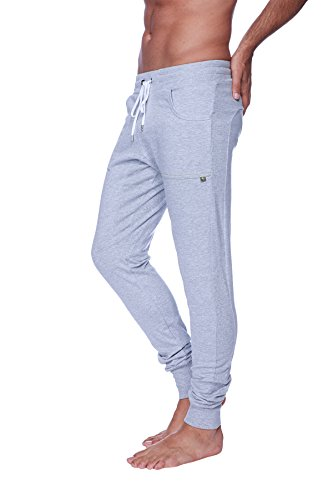 4-rth Men's Long Cuffed Perfection Yoga Pant (Medium, Heather Grey)