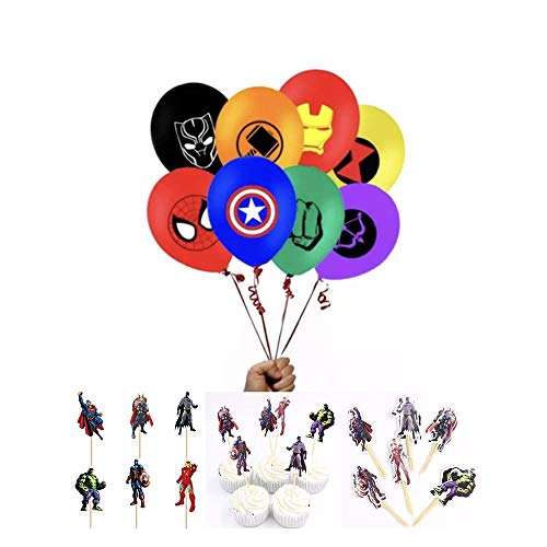 PARK AVE Superhero Balloon Party Favor Supplies - 8ct 12'' Hero Theme Latex Balloons with 24 Cupcake Cake Picks for Comic Theme Party and Decorations
