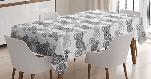 Ambesonne Motorcycle Tablecloth, Realistic Grayscale Illustration of Classic Motorcycles with Many Details, Dining Room Kitchen Rectangular Table Cover, 52 W X 70 L Inches, White Black