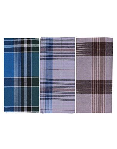 JISB Men's Cotton Checks Lungi,2 Mtr length, 3 Piece pack