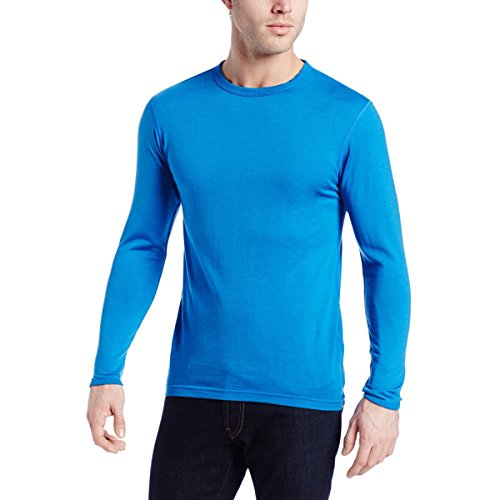 Thermal Wool T-shirt - Minus33 Merino Wool Men's Ticonderoga Lightweight Crew, Azure Blue, Medium