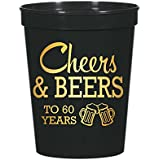 Cheers and Beers to 60 Years Plastic Cups for a 60th Birthday Party, Stadium Cups, 60th Birthday Decorations, Disposable…