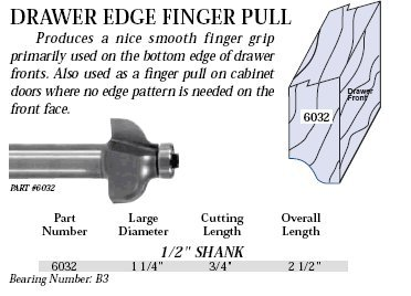 Whiteside Router Bits 6032 Drawer Edge Finger Pull Bit with 1-1/4-Inch Large Diameter and 3/4-Inch Cutting (North Carolina Drawer Pulls)