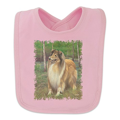 Collie Dog in the Woods Baby Bib - Pink