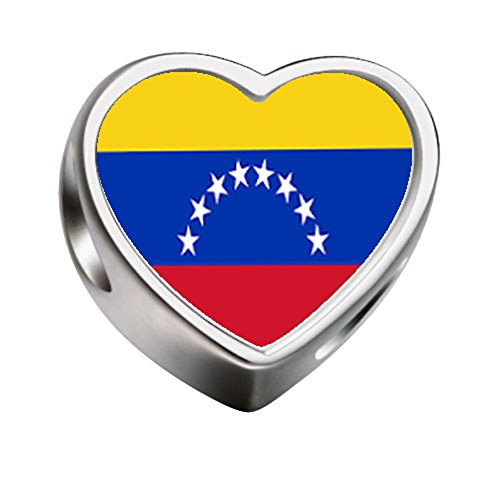 Love Venezuela Flag Heart - FERVENT LOVE Heart Charm Venezuela Flag Photo Charm Fit European Charm Bracelet Necklace
