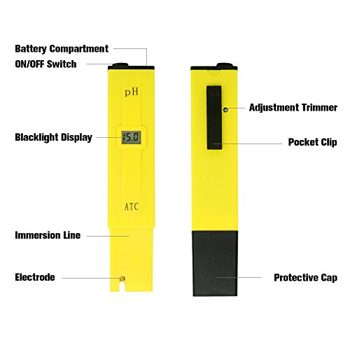 PH Meter, Daugee Pocket Size 0.01 PH High Accuracy Water Quality Tester with Auto Temp Compensation Function for Household Drinking, Pool and Aquarium (Yellow) by Daugee (Image #2)
