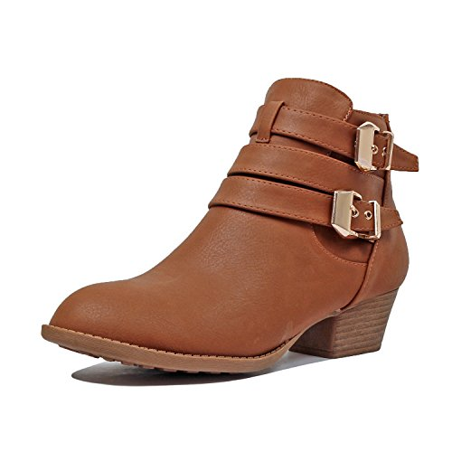 Booties Tanv5 Heel Toe Closed Boot Womens Ankle Comfortable Low Heart Guilty Pu Side Chunky Zipper Buckle AUxXnH6