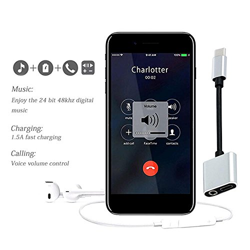 KOBWA 2-in-1 Type C to 3.5mm Headphone Audio Adapter Charger Adapter Splitter Supports Call/Charge / Music Control for Huawei Mate 10 Pro / P20 / P20 ...