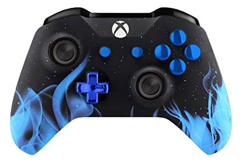 Soft Touch Blue Fire Xbox One S Rapid Fire Custom Modded Controller 40 Mods for All Major Shooter Games, Quick Scope, Auto Run, Sniper Breath, Jump Shot, Active Reload & More (3.5 mm Jack)