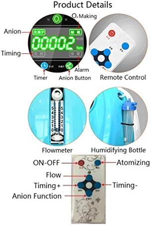 車携帯用酸素発生器屋外の小さなリチウム電池用在宅酸素90%、3%、調整可能1-5L酸素濃度アブソーバー 酸素濃縮器 (Color : Blue)