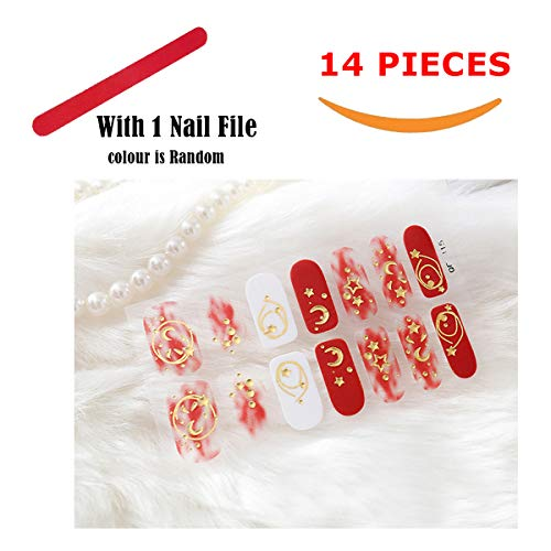 Aosheng Fashion Christmas Stylish 14 Pieces Multiple Colours Self-adhesive Nail Art Stickers Set for Nail Art Design Easy DIY Style (red star)