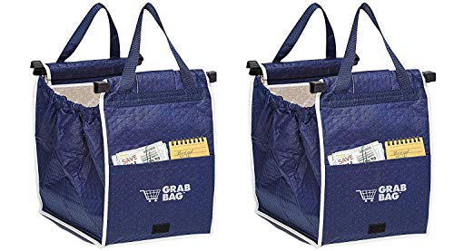 Insulated Reusable Grab Bag Grocery Shopping Tote Holds Up To 40 lbs (2) (Bag Organizer As Seen On Tv)