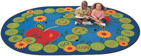 Carpets for Kids ABC Caterpillar Oval Rug, 6 9 x 9 5 , Blue