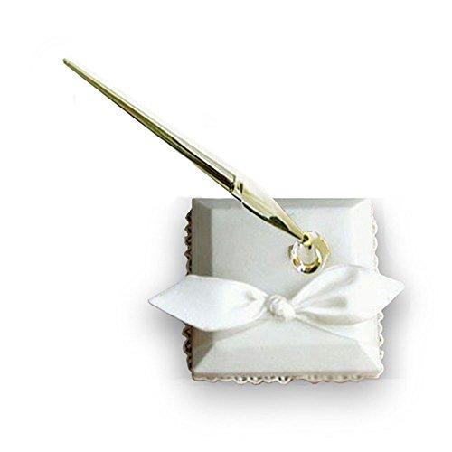 Bow Pen - SACASUSA ( ) Elegant Ivory Bridal Wedding Pen Set w/ Holder with Nice Satin Bow