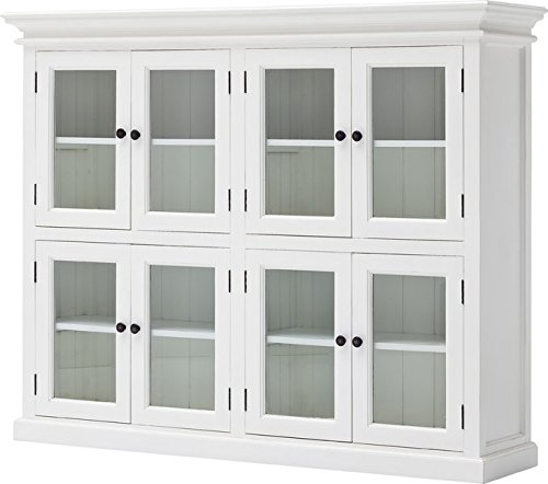 Kitchen Pantry Kiln Dried Solid Mahogany Hand Finished Furniture Semi-gloss Painted Finish Topped with a Durable Sealer Already Assembled Beveled Glass 8 Glass Doors Antique Brass Hardware by GAShop