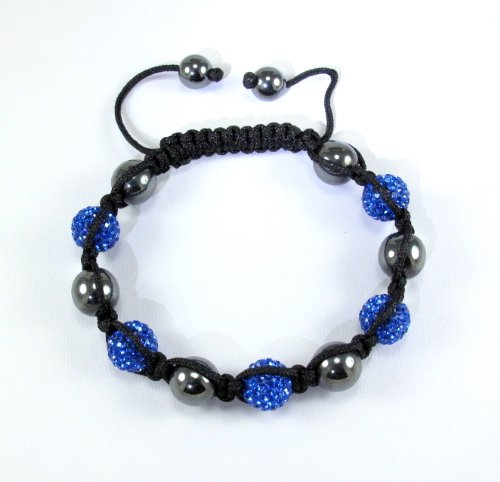 Just Priceless Gifts Swarovski Elements Blue Saphhire 5 and Hematite 8 Health Bracelet