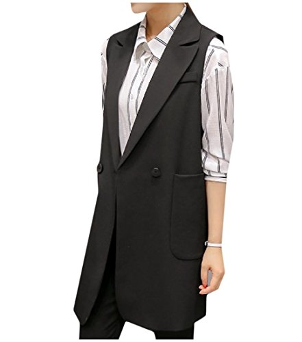(Honey GD Women's OL Style Solid Single Button Blazer Jacket Coat Vest Black S)