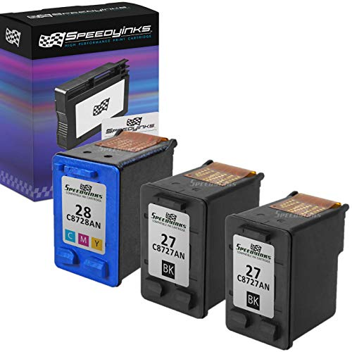 SpeedyInks Remanufactured Ink Cartridge Replacement for HP 27 and HP 28 (2 Black, 1 Color, ()