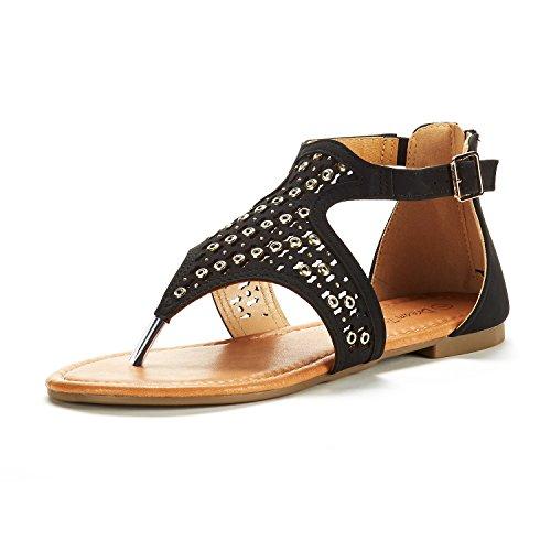 DREAM PAIRS Women's Roman_02 Black Fashion Gladiator Design Ankle Strap Flat Sandals Size 10 M - Strap Flat Sandals Gladiator