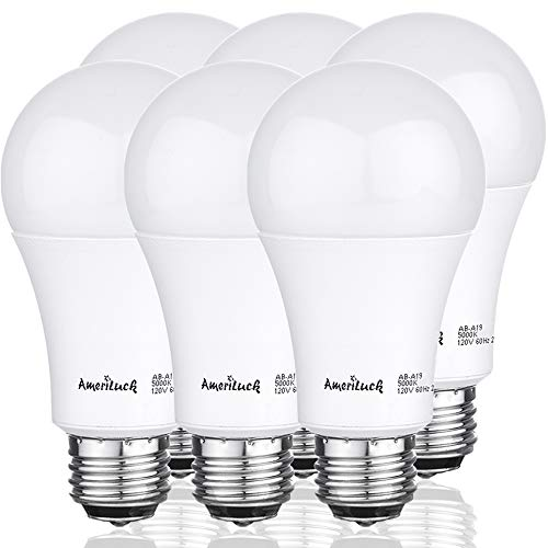 AmeriLuck 100W Equivalent A19 LED Light Bulbs, 15Watts Non-Dimmable (5000K | Daylight, 6 Pack)