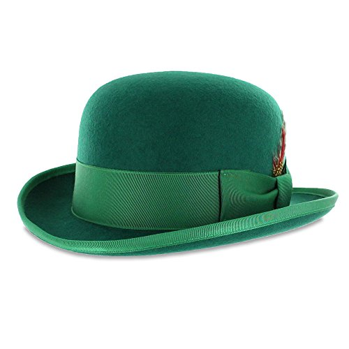 Belfry Mickey Irish Green Derby Hat with Feather and Liner (L) (Bowler Hat)