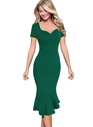 VfEmage Womens Elegant Vintage Cocktail Party Mermaid Midi Mid-Calf Dress 9576 GRN M by VfEmage