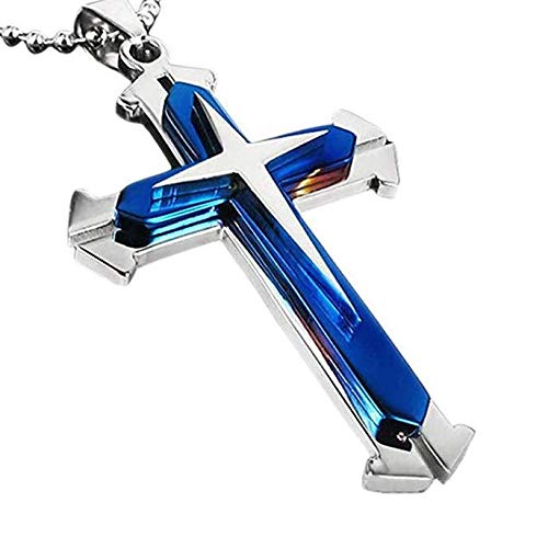 SPHTOEO HOT Women 925 sterling Silver Rhinestone Crystal Cross Pendant Necklace (Blue)