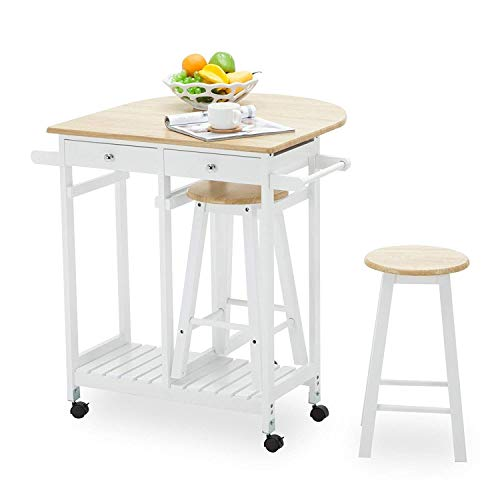 Mecor Kitchen Trolley Cart, Rolling Island Drop Leaf Table with 2 Stools and 2 Drawers for Home Breakfast White