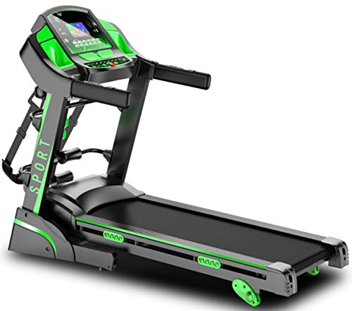 FMTMY Electric Folding Runner Treadmill,Silent Shock Multi-Functional Fitness Equipment with Dumbbell Massage,Speed 1.0-16.0KM/H, LCD Screen, Slope Upto16%, Contact Heart Rate Test,Green