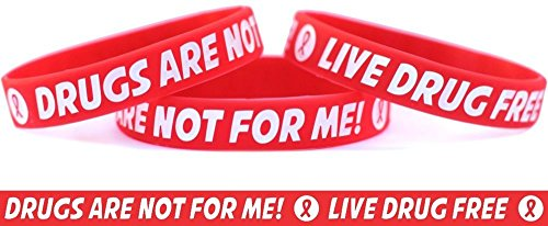 1 Child Size Live Drug Free Wristband - Drugs Are Not for Me Bracelet - Red Ribbon Week Band …