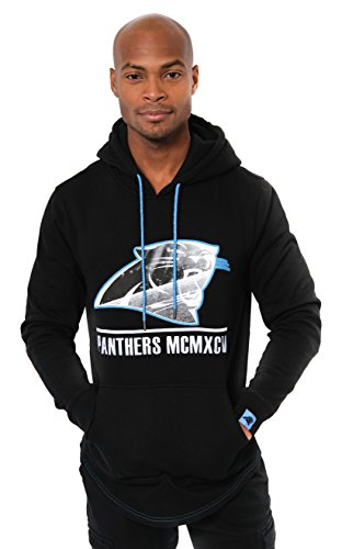 ICER Brands Adult Men Fleece Hoodie Pullover Sweatshirt Embroidered, Team Color, Black, ()