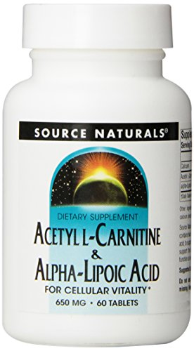L-carnitine 60 Tablets (Source Naturals Acetyl L-Carnitine and Alpha-lipoic Acid, 650mg, 60 Tablets)