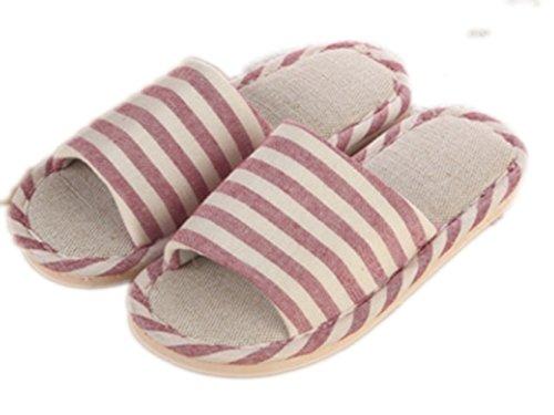 WJL Leinen Hausschuhe, Männer und Frauen Haus Hausschuhe, rutschfeste Leinen Hausschuhe, Haus Sandalen für Frühling Sommer & Herbst Pink