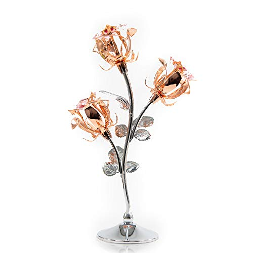 - MASCOTUSA Rose Gold Plated Three Elegant Roses Figurine on Stand with Swarovski Element Crystal| Best Gift for Mother's Day Valentine's Day Anniversary Wedding House Warming Home Office Desk Decor
