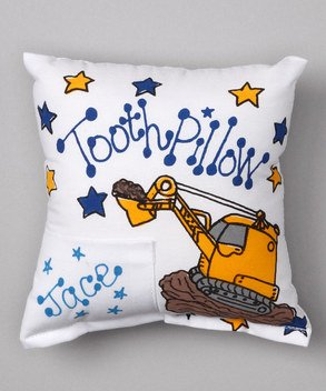 Bunnies and Bows Personalized Tooth Fairy Pillow - Backhoe/Tractor/Truck - 6.5