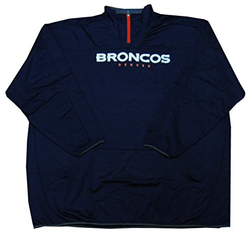 Denver Broncos NFL Mens Majestic Birdseye 1/4 Zip Fleece Navy Blue Size 5XL