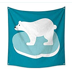 Anniutwo Apartment Decor Tapestry Vector Illustration of Polar Bear in Flat Style Bedroom Living Room Dorm 32W x 32L Inch